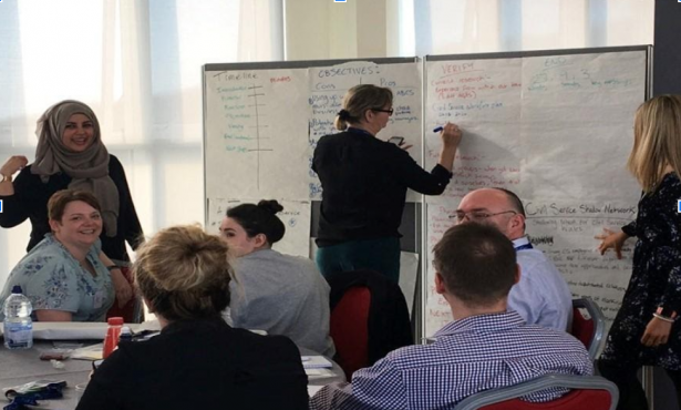 Academy delegates talking around a table with one lady writing notes on a whiteboard