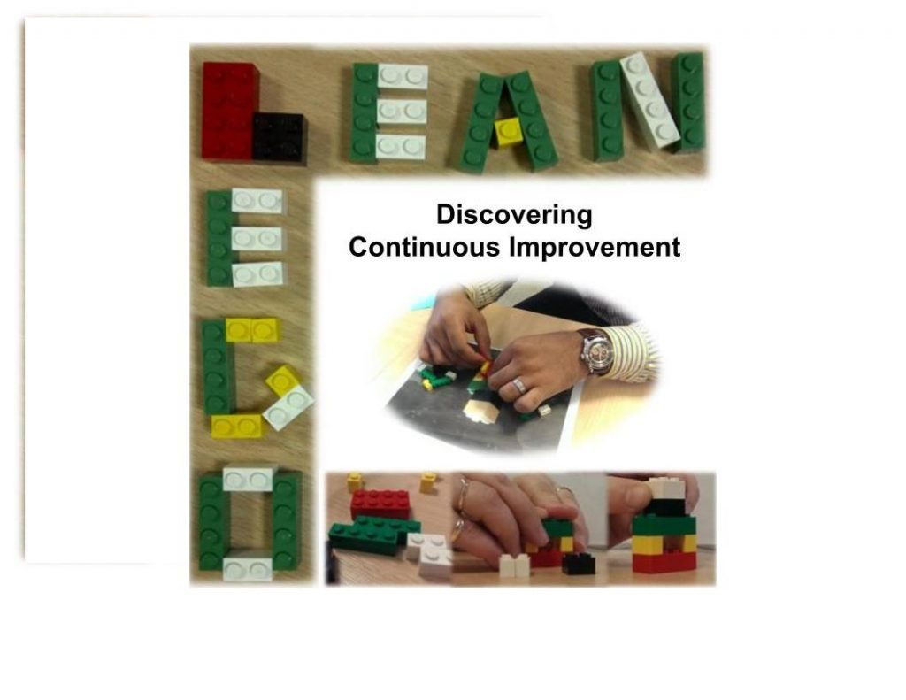 The words Lean Lego written in Lego. A pair of hands constructing lego and the phrase Discovering Continuous Improvement