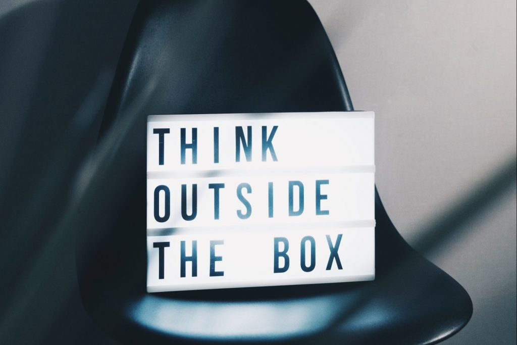 Lightbox saying think outside the box
