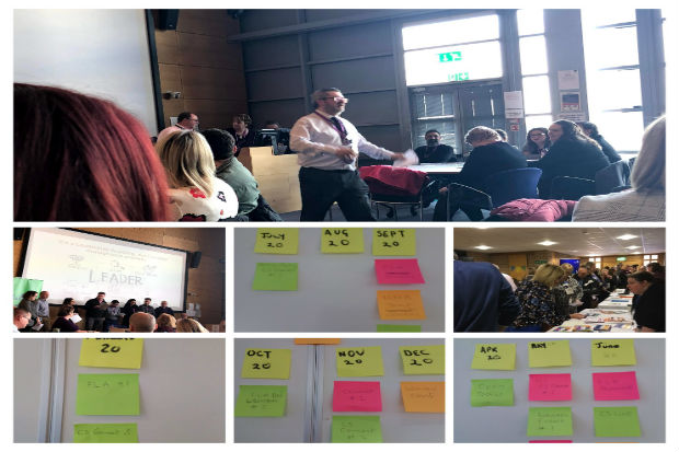 A collage of seven photos, a large phot of a speaker at a conference, post it notes for a business plan and stalls of government departments during conference