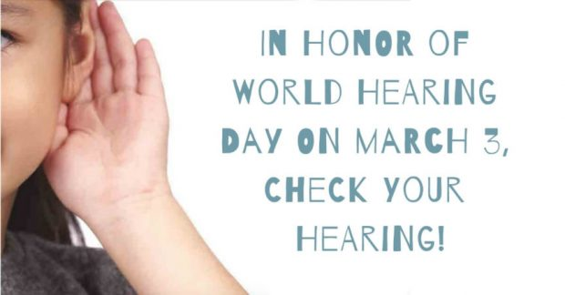 Girl with hand on her ears trying to hear , writing on side World hearing day on March 3 check your hearing