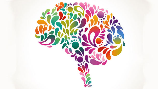 Brain silhouette coloured in with different coloured swirls