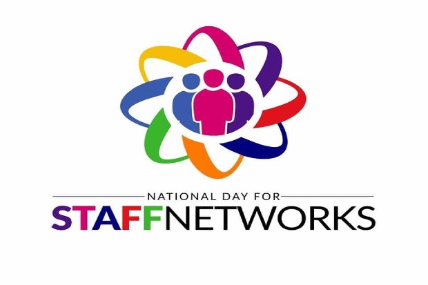 white background with the caption National day for staff networks underneath a group of mulit coloured figures within a kaleidoscope