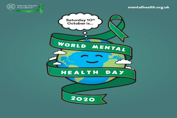 a cartoon image of the world with a green ribbon wrapped around it signifying world mental health day