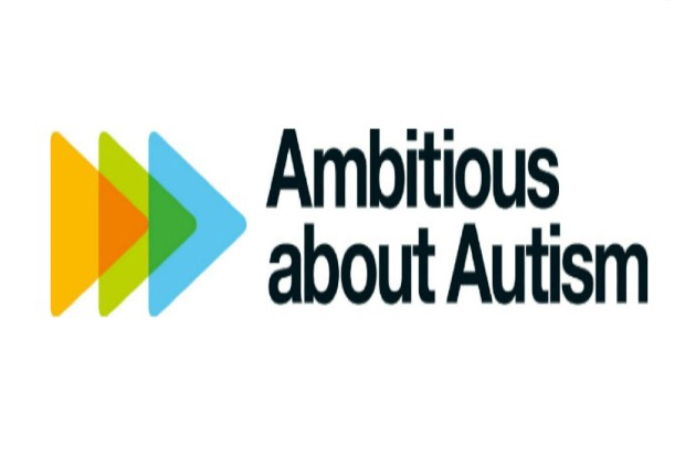 words Ambitious about autism and charity logo blue, green and orange triangles overlapping