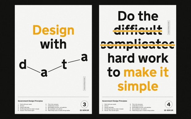 Two posters which read Design with Data and Do the Hard Work to Make it Simple