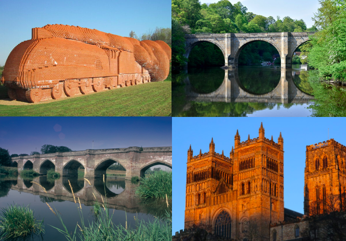 Train made out of bricks, a bridge over water and Durham cathedral