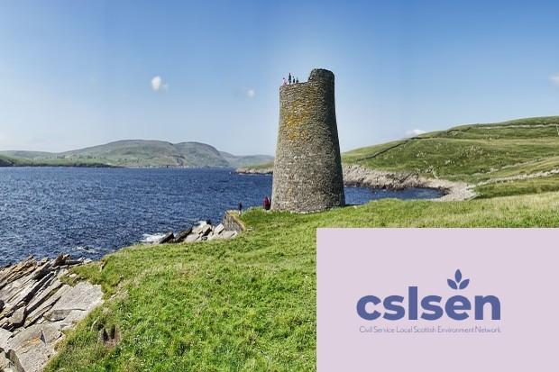 Coastline of Shetland Islands Scotland with Civil service local scotland environment logo in bottom right corner