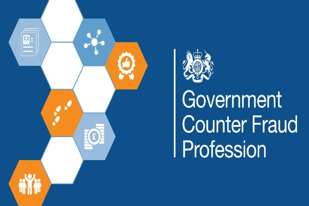 Government counter fraud profession written on blue background with hexagonal shapes to the left