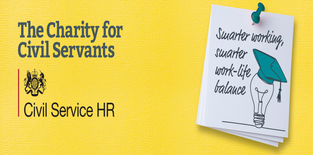 The Charity For Civil Servants and Civil Service HR banners with post-it notes showing Smarter working, smarter work-life balance with the image of a light bulb with a mortar board