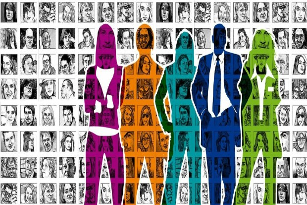 silhouettes of people overlaid over passport type images of many other people